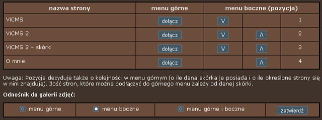 ViCMS 2.1 Ustawienia menu