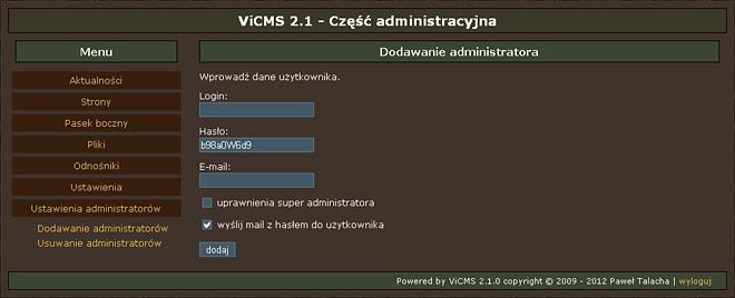 Formularz dodawania nowego administratora