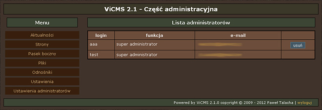 Lista administratorów