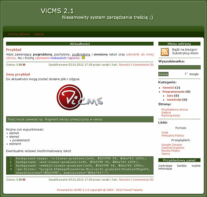 """Witryna stworzona za pomocą ViCMS 2.1 – aktualności, skórka """"Green"""""""