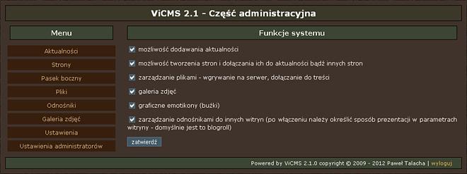 ViCMS 2.1 Funkcje systemu
