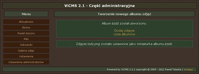 Informacja o poprawnym utworzeniu albumu i miniaturki