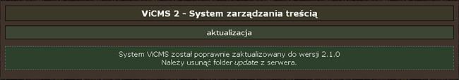 ViCMS 2.1 aktualizacja